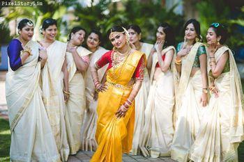 South indian bridesmaids in silk sarees