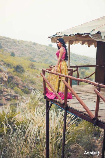 bright pink and yellow lehenga