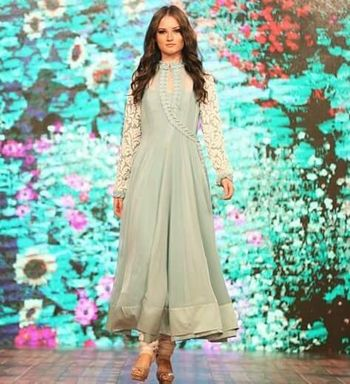 powder blue and white anarkali with lace sleeves