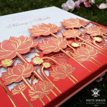 Photo of Lotus design cutout wedding cards