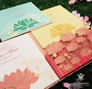 3D Pastel Wedding Invitation cards