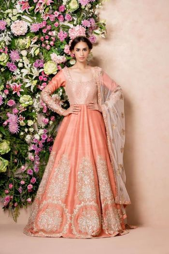coral and gold anarkali