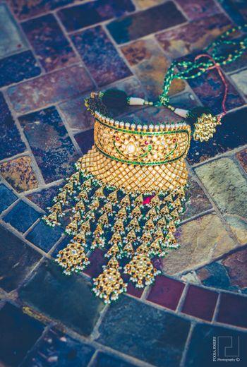 Gold and green bridal choker