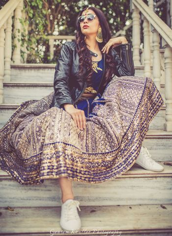 Pre wedding outfit lehenga with leather jacket