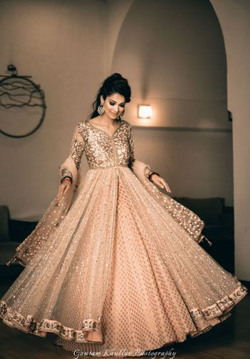 Gold Outfits Photo peach golden anarkali