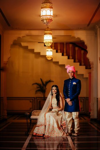 Photo of Mismatched bride and groom fort wedding portrait