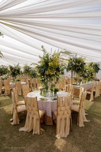 White and gold theme reception decor