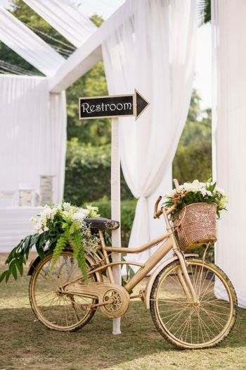 floral bicycle decor for reception