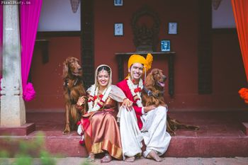 cute south indian couple shot with dogs