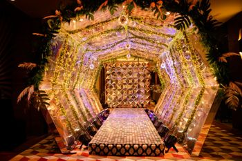 Photo of Grand entrance decor with lights and flowers