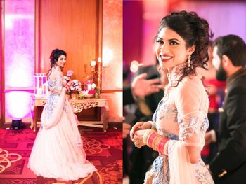 Sangeet lehenga with messy bun hairstyle