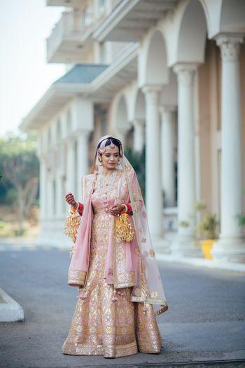 Peach and gold Sikh bridal anarkali