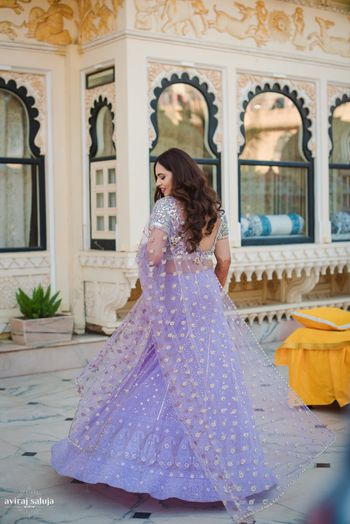 Photo of Lavender net lehenga with silver work