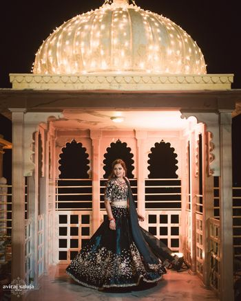 Black reception lehenga with gold motifs