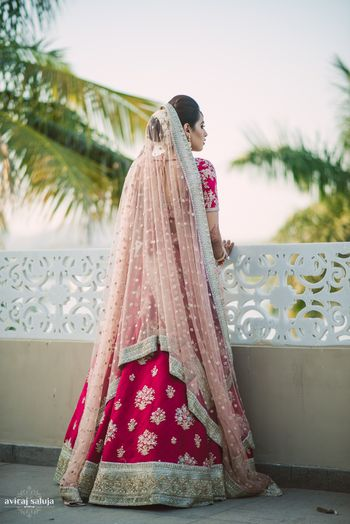 Photo of Bride back shot with light pink dupatta