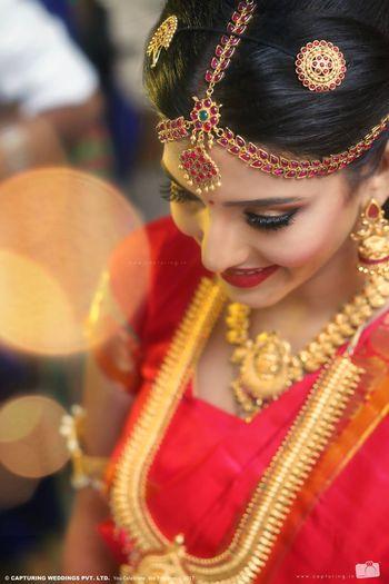 South indian kundan and ruby bridal mathapatti