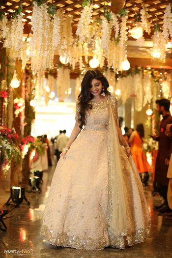 Photo of Beige and gold anarkali