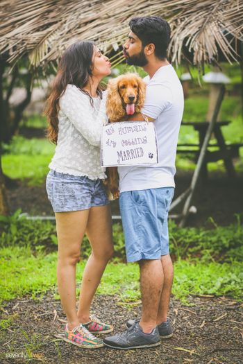 couple pre-wedding shoot with dog