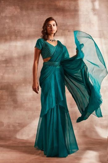 Gorgeous ocean blue draped saree with belt