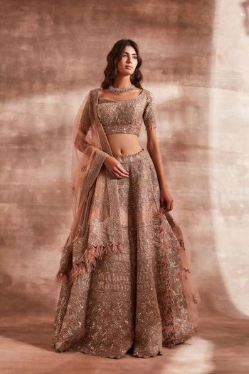 Stunning peach lehenga with silver work and dupatta with tassels