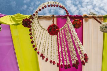 Hanging floral strings and floral balls decor