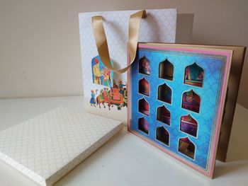 Fort wedding unique keepsake card in blue with cutout windows