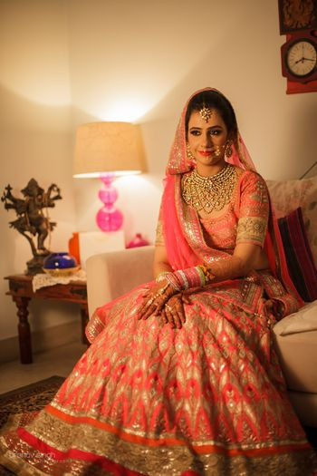 candy pink gota patti bridal lehenga