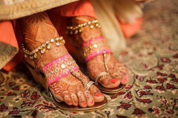 Photo of candy pink kohlapuri shoes