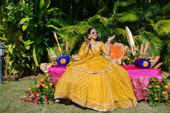 mustard yellow lehenga for mehendi or haldi