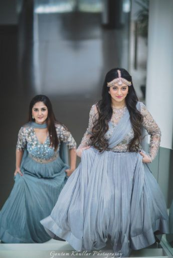 Light grey engagement lehengas with attached dupatta