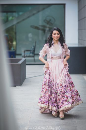 Light lehengas with floral embroidery and jacket blouse