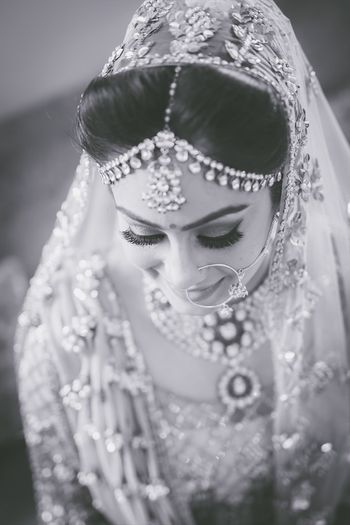 Sikh bride black and white bridal portrait