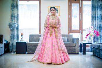 Sikh bride in light pink anarkali