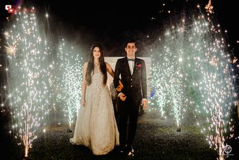 Couple entry with fireworks