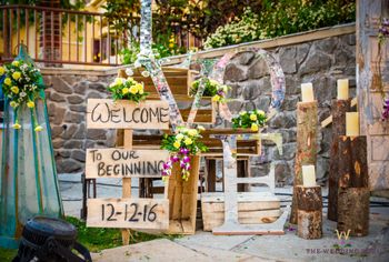 Floral and wood props Entrance decor