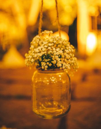 Babys breath in hanging mason jar