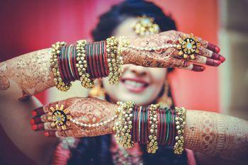 Bridal hands with bangles kadas and haathphool