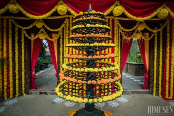 Photo of Genda flower South Indian Wedding Entrance Decor