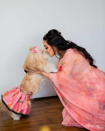 Photo of Bride coordinating with her pet.