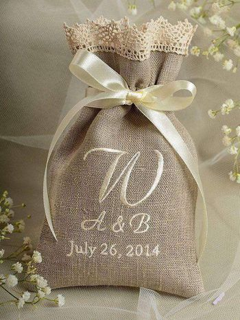 Burlap personalised packaging with couple initials