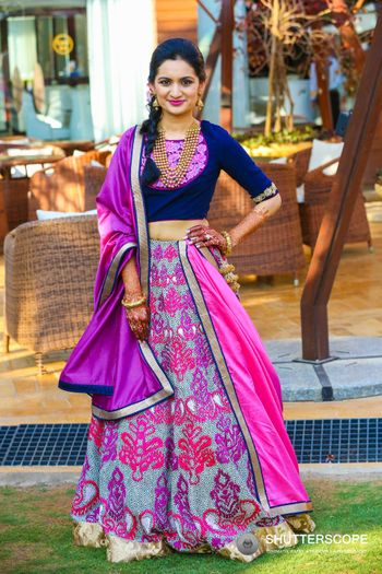 Blue and purple lehengas for mehendi with threadwork