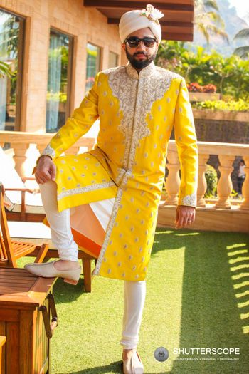 Yellow embroidered sherwani for summer wedding