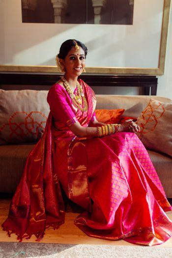 Pink kanjeevaram South Indian bridal saree