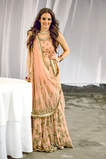Salmon pink lehenga for engagement