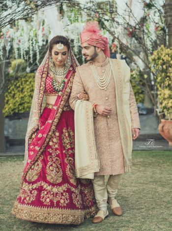 Photo of raspberry pink lehenga