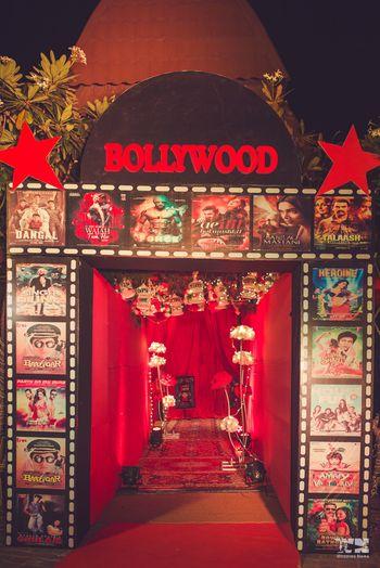Bollywood theme sangeet entrance decor idea