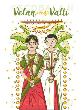 South Indian caricature wedding card with bride and groom cartoons