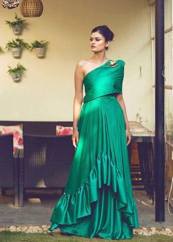 Dar green off shoulder crop top with ruffled skirt