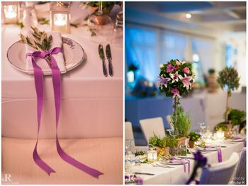 purple ribbonm table setting