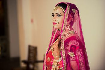 Photo of Pink Bridal Portrait Shot
